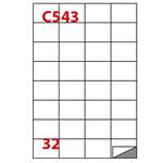 Etichetta adesiva C543 - permanente - 52,5x37 mm - 32 etichette per foglio - bianco - Markin - scatola 100 fogli A4
