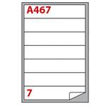 Etichetta adesiva A467 - permanente - 190x38 mm - 7 etichette per foglio - bianco - Markin - scatola 100 fogli A4