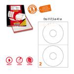 Etichetta adesiva a/462 bianca 100fg x cd ø117,5mm foro41 (2et/fg) coprente