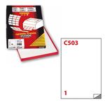 Etichetta adesiva C503 Extra Forte - permanente - 21x29,7 cm - 1 etichetta per foglio - bianco - Markin - scatola 100 fogli A4