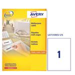 Etichetta adesiva L4735REV Avery - removibile - bianco - 210x297 mm - 1 etichetta per foglio - conf. 25 fogli A4