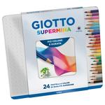 Supermina pastelli colorati - lunghezza 18cm Ø 7,6mm e mina Ø3,8mm - Giotto - Astuccio in metallo 24 pastelli colorati