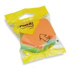 Blocco foglietti freccia - arancio, verde, verde neon - 70 x 70mm - 225 fogli - Post It
