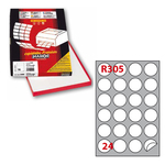 Etichetta adesiva R305 - permanente - ø 40 mm - 24 etichette per foglio - bianco - Markin - scatola 100 fogli A4