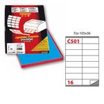 Etichetta adesiva C501 Markin - blu - 105x36 mm - 16 etichette per foglio - scatola 100 fogli A4