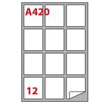Etichetta adesiva A420 - permanente - 63,5x72 mm - 12 etichette per foglio - bianco - Markin - scatola 100 fogli A4