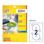 Etichetta adesiva j8676 bianca opaca cd/dvd 25fg A4 ø117mm (2et/fg) inkjet