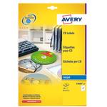 Etichetta adesiva C9660 per CD/DVD - permanente - ø 117 mm - 2 etichette per foglio -  bianco glossy - Avery - conf. 25 fogli A4