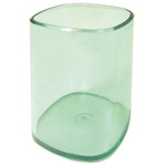 Portapenne a bicchiere - 6,5x6,5x9,5 cm - trasparente verde - Arda
