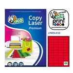 Etichetta adesiva LP4F - permanente - 47,5x25,5 mm - 44 etichette per foglio - rosso fluo - Tico - conf. 70 fogli A4