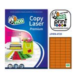 Etichetta adesiva LP4F Tico - arancio fluo - 47.5x25.5 mm - 44 etichette per foglio - conf. 70 fogli A4
