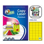Etichetta adesiva LP4F Tico - giallo fluo - 47.5x25.5 mm - 44 etichette per foglio - conf. 70 fogli A4