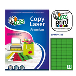 Etichetta adesiva LP4F Tico - verde fluo - 47.5x25.5 mm - 44 etichette per foglio - conf. 70 fogli A4