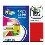 Etichetta adesiva LP4F Tico - rosso fluo - 200x142 mm - 2 etichette per foglio - conf. 70 fogli A4