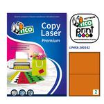 Etichetta adesiva LP4F  - permanente - 200x142 mm - 2 etichette per foglio - arancio fluo - Tico - conf. 70 fogli A4