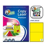 Etichetta adesiva LP4F Tico - giallo fluo - 200x142 mm - 2 etichette per foglio - conf. 70 fogli A4