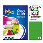 Etichetta adesiva LP4F - permanente - 200x142 mm - 2 etichette per foglio - verde fluo - Tico - conf. 70 fogli A4