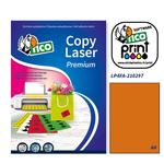 Etichetta adesiva LP4F - permanente - 210x297 mm - 1 etichetta per foglio - arancio fluo - Tico - conf. 70 fogli A4