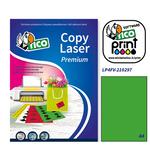 Etichetta adesiva LP4F - permanente - 210x297 mm - 1 etichetta per foglio - verde fluo - Tico - conf. 70 fogli A4