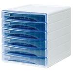 Cassettiera Olivia - 31x40x32,5 cm - 6 cassetti da 3 cm - grigio/azzurro trasparente - Arda