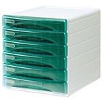 Cassettiera Olivia - 31x40x32,5 cm - 6 cassetti da 3 cm - grigio/verde trasparente - Arda
