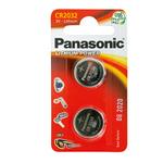 Micropile CR2032 - 3V - a pastiglia - litio - Panasonic - blister 2 pezzi