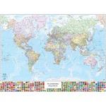 Carta geografica Mondo con Bandiere - murale - 132x97 cm - Belletti