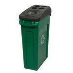 Contenitore slim jim c/maniglie 87lt verde con logo ricicl. rubbermaid