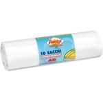Sacchi per immondizia - 70x110 cm - 120 L - 16 micron - bianco - Logex Professional - rotolo da 10 sacchetti