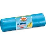Sacchi per immondizia - 70x110 cm - 120 L - 16 micron - azzurro - Logex Professional - rotolo da 10 sacchetti