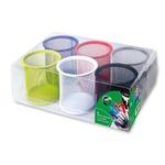 Bicchieri portapenne - rete metallica colorata - 8,5x10 cm - Lebez - conf. 6 pezzi