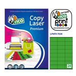 Etichetta adesiva LP4F - permanente - 70x36 mm - 24 etichette per foglio - verde fluo - Tico - conf. 70 fogli A4