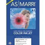 Carta inkjet - A3 - 120 gr - effetto opaco fronte/retro - bianco - As Marri - conf. 50 fogli