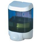 Dispenser da muro per sapone liquido - 12,8x11,2x20,5 cm - capacità 1 L -  bianco/azzurro trasparente - Mar Plast