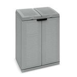 Contenitore EcoCab 2 per raccolta differenziata - 68x39x88,7 cm - 2 portasacco da 110 L ciascuno - grigio/nero - Terry