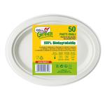 Piatti ovali - 26x19,5 cm - biodegradabili - Dopla Green - conf. 50 pezzi
