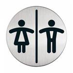 Pittogramma adesivo - Wc donne/uomini - acciaio - diametro 8.3 cm - Durable