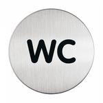 Pittogramma adesivo - WC - acciaio - diametro 8.3 cm - Durable