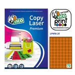 Etichetta adesiva LP4F - permanente - tonda ø 25 mm - 70 etichette per foglio - arancio fluo - Tico - conf. 70 fogli A4