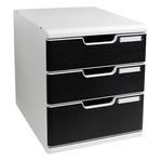 Cassettiera Modulo A4 -  35x28,8x32 cm - 3 cassetti - grigio/nero - Multiform