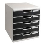 Cassettiera Modulo A4 - 5 cassetti - grigio/nero - Multiform