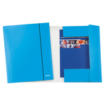Cartella con elastico WOW - cartoncino plastificato - 3 lembi - 25x35 cm - azzurro metal - Leitz