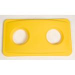 Coperchio slim jim giallo con fori per bottiglie rubbermaid