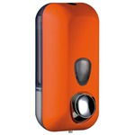 Dispenser Soft Touch per sapone liquido - 10,2x9x21,6 cm - capacità 0,55 L - arancio - Mar Plast