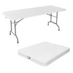 Tavolo rettangolare pieghevole - 152x76x74 cm - polietilene/acciaio verniciato - bianco - Serena Group