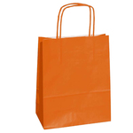 Shoppers in carta - maniglie cordino - arancio - 22 x 10 x 29cm - conf. 25 shoppers