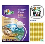Etichetta adesiva GL4 Tico - ovale - satinata oro - 22x16 mm - 120 etichette per foglio - conf. 100 fogli A4