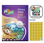 Etichetta adesiva GL4 Tico - sagomata - satinata oro - 36x21 mm - 60 etichette per foglio - conf. 100 fogli A4