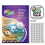 Etichetta adesiva SL4 Tico - ovale - satinata argento - 36x27 mm - 50 etichette per foglio - conf. 100 fogli A4