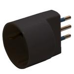 Adattatore semplice - spina 2P+T 16 A - presa schuko 16 A - nero - MKC